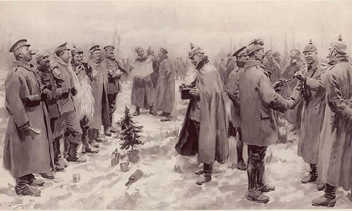 Ilustrasi gencatan senjata Natal 1914