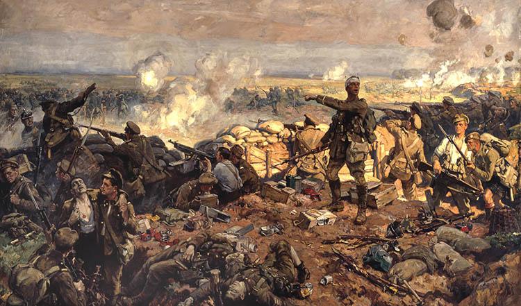 Lukisan tentara Inggris dan Jerman Perang Dunia Pertama